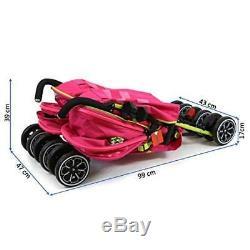 Filles Jumelles Double Poussette Rose Poussette Buggy Inc Raincover, Et Cupholder