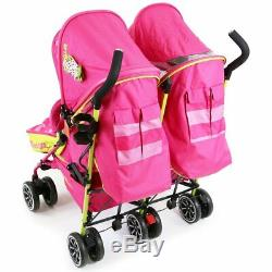 Filles Jumelles Double Rose Poussette Buggy Poussette Inc Raincover Holder Bag & Cup
