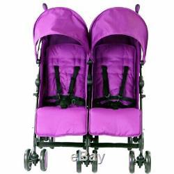 Filles Violet Bébé Bambin Double Poussette Double Parasol Parapluie Buggy