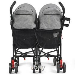 Foldable Twin Baby Toddler Double Poussette Ultralight Umbrella Kids Twins Gray