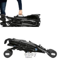 Garçons Filles Chicco Lightweight Twin Double Noir Gris Poussette Buggy À Raincover