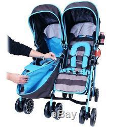 Garçons Jumeaux Double Poussette Bleu Poussette Landau Buggy Inc Raincover & Bag