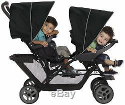 Graco Stadium Duo Tandem Poussette Double Poussette Jumelle Baby Buggy Noir / Gris