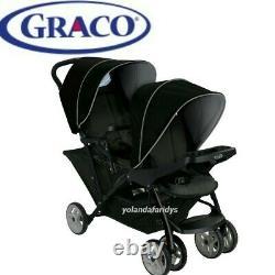 Graco Stadium Duo Tandem Twin Seat Buggy Poussette Pushchair Noir / Gris