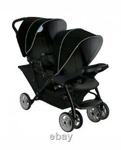 Graco Stadium Duo Tandem Twin Seat Buggy Poussette Pushchair Noir/gris Gratuit