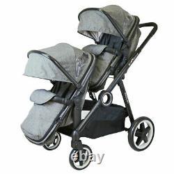 Grey Lightweight Twin Tandem Pram Stroller Inc Carrycots Footmuff - Raincover