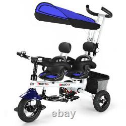 Honeyjoy 4-in-1 Baby Twins Double Easy Steer Poussette Tricycle Détachable Bleu