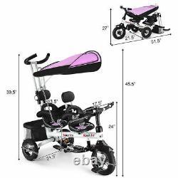 Honeyjoy 4in1 Baby Twins Double Easy Steer Poussette Jouet Tricycle Enfants Détachables