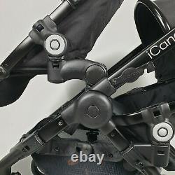 Icandy Peach3 Jet Black Tandem Double Système De Voyage Pushchair Pram Poussette Jumeau