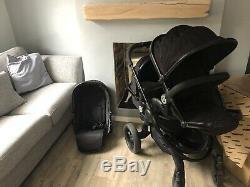 Icandy Peach 3 Black Double Jet / Blossom Avec Blossom Cot Noir
