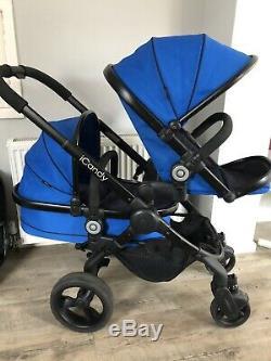 Icandy Peach 3 Bleu Cobalt Hey Double / Blossom Seat Et Twin Lit