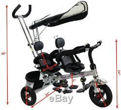 Jumeaux Enfants Vélo Bébé Trike Poussette Tricycle Rotatif Ceinture De Sécurité Ombre Soleil