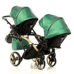 Junama Fluo Line Duo Slim Baby Poussette Tandem Double Twin Pram 2in1 Poussette