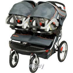 La Poussette Double De Jogging Navigator De Baby Trend Twins, Adaptée Aux Sièges D'auto