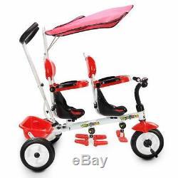 Les Enfants Jumeaux Trike Tricycle Poussette Bébé Vélo Tout-petits Sièges Doubles Canopy 4 En 1