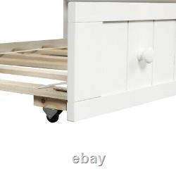 Lit Double Lit De Jour En Bois Trundle Canapé Chambre Chambre À Coucher Salon Moderne Blanc
