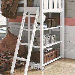 Lit Double Loft Avec Bibliothèque Durable En Pin Massif Et Finition Blanche En Bois De Caoutchouc