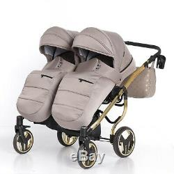 Lits Jumeaux Premium Pram Tako Laret Imperial Duo Beige + Gold Double Buggy Twins Bébé