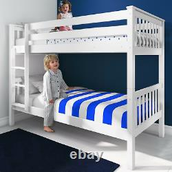 Lits Superposés Double Lit Triple Pine Wood Kids White Children Bed Frame With Stairs