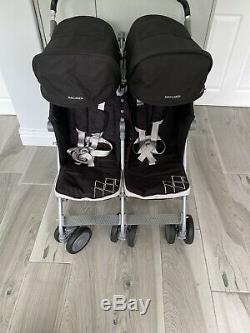 Maclaren Poussette Twin Double Techno In Black La Plus Défunte Conception Rrp £ 450