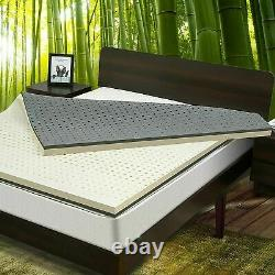 Nesaila Bamboo Charcoal Latex Matelas Topper Twin 3.15 Pouces Double Couche-save