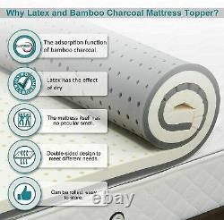 Nesaila Bamboo Charcoal Matelas Latex Topper 3.15 Pouces Double Couche Pad