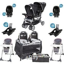 Nouveau-né Filles Combo Set Twins Nursery Centre Poussette 2 Sièges Auto 2 Chaises
