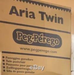 Nouvelle Peg Perego Aria Twin Poussette Double Seulement 14lbs