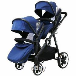 Offre Spéciale Bleu Lightweight Double Twin Tandem Poussette Landau Inc Raincover