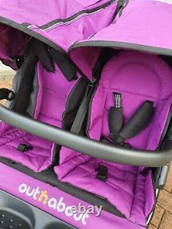 Out N À Propos De Nipper Double V4 Double Seat Poussette Purple Twins Buggy Pram