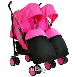 Pink Zeta Double Poussette Landau Poussette Buggy Complète Rain Cover Chancelière