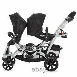 Poussette Bébé Double Multi-position Légère Twin Toddler Pliable Travel