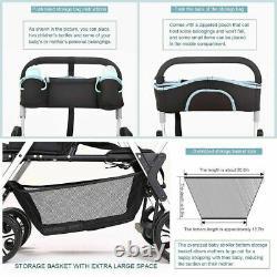 Poussette Bébé Jumelle Assise Légèreté Pour Bébé Nouveau-né Pram Double Transport