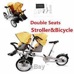 Poussette Bébé Transporteur Jumeau Deux Sièges 3 In1 Pliant Tricycle À Vélo