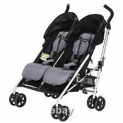 Poussette De Voyage Twin Baby Compact Fold Double Seat Evenflo Minno, Glenbarr Grey