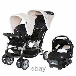 Poussette Double Baby Trend Avec 2 Sièges D'auto Twin Playard Crib Travel System Combo
