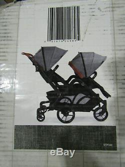 Poussette Double Contours Curve Tandem Pour Bébé, Enfant En Bas Âge Ou Jumeau, Rotation À 360 °