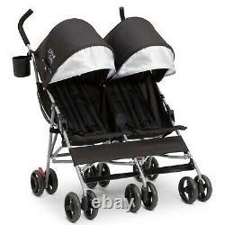 Poussette Double Enfant Transport De Bébés Twin Babyies Carrier Lightweight Swivel Nouveau