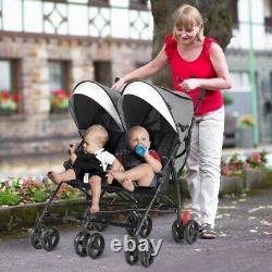 Poussette Double Pliable De Bébé De Jumeaux Avec Le Parapluie Ultra-léger Réglable De Canopée LI