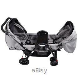 Poussette Double Pour Bébé Twin Face To Face Espace De Rangement Gris Canopy Inclinable