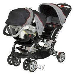Poussette Double Sit N Stand Plus De Baby Trend Gris Noir Millennium 2 Bébés Jumeaux