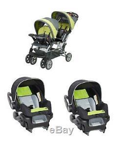 Poussette Double Sit N 'stand Boy Pour Siège Auto Twins Travel System Vert