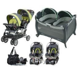 Poussette Double Twins Baby Avec 2 Sièges D'auto Nursery Crib Bag Combo Travel System