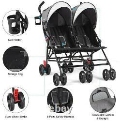 Poussette Pliable Twin Baby Double Stroller Ultralight Umbrella Kids