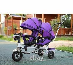 Poussette Twin Baby Double Seat Enfant Tricycle Vélo Rotatable Siège Trois Roues