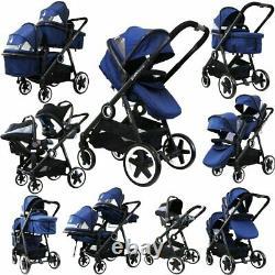 Poussette Twin Tandem Baby Newborn Pram System +2nd Seat +carseats +adaptors New