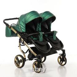 Premium Twin Pram Junama Fluo Line Duo Green+black+gold Double Buggy Baby Twins