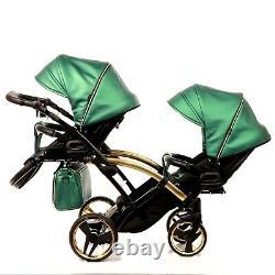 Premium Twin Pram Junama Fluo Line Duo Slim Green+black Double Buggy Baby Twins