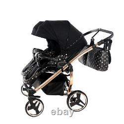 Premium Twin Pram Tako Laret Imperial Duo Black+rose Gold Double Buggy Baby Twin