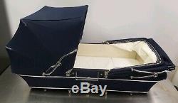Rare Poussette Double Carrière Navy Avec Une Poupée Twin Trident Silver Carrier Exquisite
